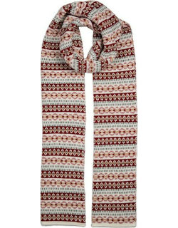 Dents Women's Knitted Scarf With Striped Fairisle Print In Winter White