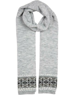 Dents Women's Knitted Scarf With Fairisle Print And Fading Stripe In Dove Grey