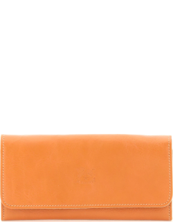 IL BISONTE DOUBLE COWHIDE LEATHER LONG WALLET OS Orange Leather