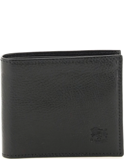 IL BISONTE DOUBLE COWHIDE LEATHER BIFOLD WALLET OS Black Leather