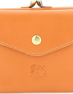 IL BISONTE DOUBLE COWHIDE LEATHER WALLET WITH COIN POCKET OS Orange Leather