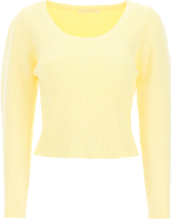 LOW CLASSIC RIBBED SWEATER WITH BALLOON SLEEVES OS Yellow Technical