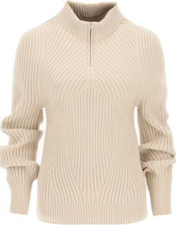 LOW CLASSIC RIBBED SWEATER WITH HIGH COLLAR OS Beige Technical