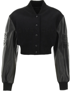 GIVENCHY 4G CROPPED BOMBER JACKET IN WOOL AND LEATHER 36 Black Wool, Leather