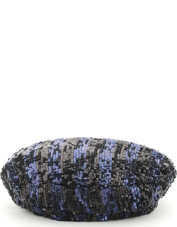 MAISON MICHEL NEW BILLY HAT WITH SEQUINS S Black, Blue Synthetic