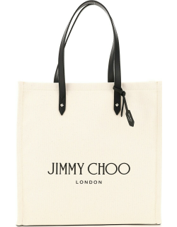 JIMMY CHOO CANVAS TOTE BAG WITH LOGO OS Beige, Black Cotton