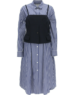 SACAI SHIRT DRESS WITH BUSTER 3 Blue, White Cotton, Wool