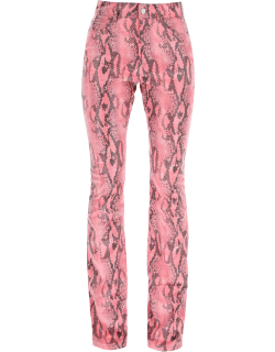 ALESSANDRA RICH PYTHON FLARE TROUSERS 38 Pink Technical