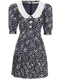 ALESSANDRA RICH MINI DRESS WITH LACE COLLAR AND JEWEL BUTTONS 40 Blue Silk, Cotton