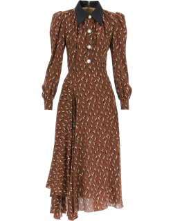 ALESSANDRA RICH SILK DRESS WITH LILY OF THE VALLEY PRINT 38 Brown Cotton, Silk