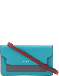 MARNI MULTICOLOR MINI BAG WALLET WITH SHOULDER STRAP OS Blue, Grey, Red Leather