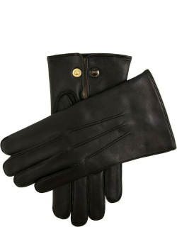 Dents Men's Wool Lined Leather Officers Gloves In Black