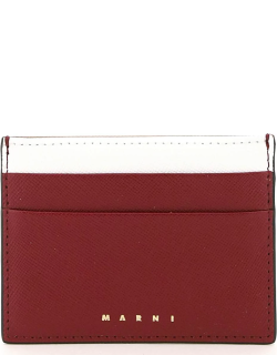 MARNI MULTICOLOR CREDIT CARD HOLDER OS White, Red, Brown Leather