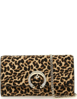 JIMMY CHOO WALLET WITH CHAIN OS Beige, Brown, Black Leather