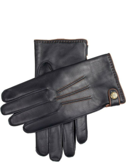 Dents Men's Lambswool Lined Leather Gloves With Stud Tab In Navy/cognac