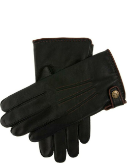 Dents Men's Lambswool Lined Leather Gloves With Stud Tab In Black/english Tan