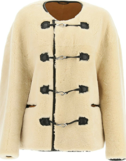 TOTEME SHEARLING JACKET XS/S Beige, Brown Leather, Fur