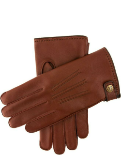 Dents Men's Lambswool Lined Leather Gloves With Stud Tab In English Tan/brown