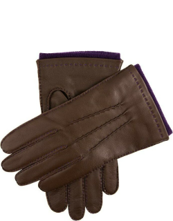 Dents Men's Handsewn Contrast Colour Cashmere Lined Leather Gloves In Brown (Amethyst)