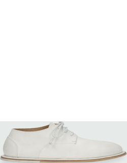 Leather Lace-Up Flat Loafers