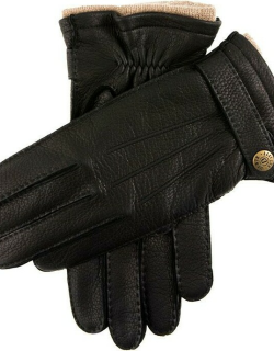 Dents Men's Handsewn Cashmere Lined Deerskin Leather Gloves With Cashmere Cuffs In Black
