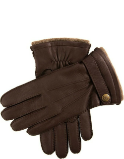 Dents Men's Handsewn Cashmere Lined Deerskin Leather Gloves With Cashmere Cuffs In Bark