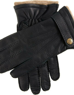 Dents Men's Handsewn Cashmere Lined Deerskin Leather Gloves With Cashmere Cuffs In Navy