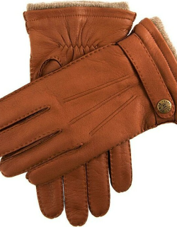 Dents Men's Handsewn Cashmere Lined Deerskin Leather Gloves With Cashmere Cuffs In Havana