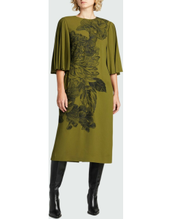 Floral-Embroidered Crepe Dress w/ Pleated Sleeves