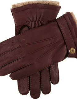 Dents Men's Handsewn Cashmere Lined Deerskin Leather Gloves With Cashmere Cuffs In Claret
