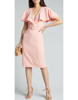Cape-Sleeve Belted Cocktail Dress