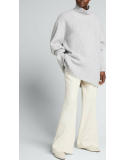 Tailored Flared Wool Trousers