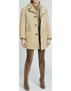 Shearling 3-Button Coat w/ Leather Trim