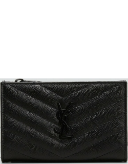 YSL Bifold Quilted Grain Leather Wallet