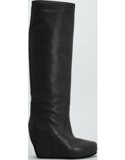 105mm Tall Leather Wedge Platform Boots