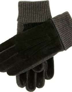 Dents Men's Fleece Lined Suede Gloves With Knitted Cuffs In Black/charcoal