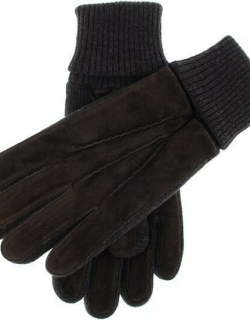 Dents Men's Fleece Lined Suede Gloves With Knitted Cuffs In Brown/charcoal