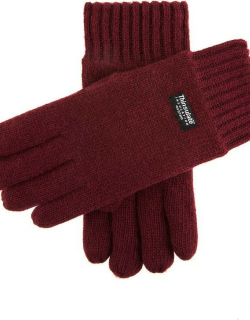 Dents Men's Thinsulate Lined Knitted Gloves In Burgundy