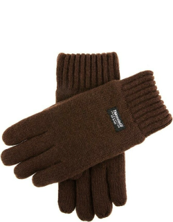 Dents Men's Thinsulate Lined Knitted Gloves In Chocolate