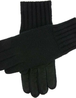 Dents Men's Cashmere Knitted Gloves With Suede Palm Patch In Black