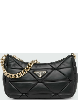 System Triangle Quilted Napa Shoulder Bag