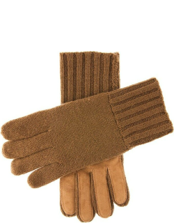 Dents Men's Cashmere Knitted Gloves With Suede Palm Patch In Camel