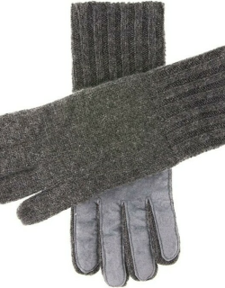 Dents Men's Cashmere Knitted Gloves With Suede Palm Patch In Charcoal