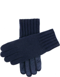 Dents Men's Cashmere Knitted Gloves With Suede Palm Patch In Navy