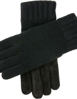 Dents Men's Knitted Gloves With Suede Palm Patch In Black