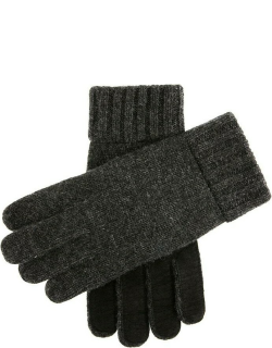 Dents Men's Knitted Gloves With Suede Palm Patch In Charcoal