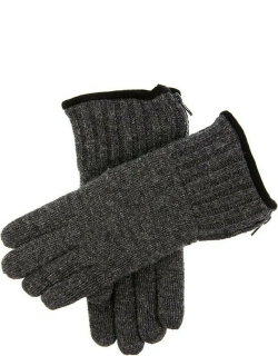 Dents Men's Thinsulate Lined Knitted Gloves With Zip In Charcoal
