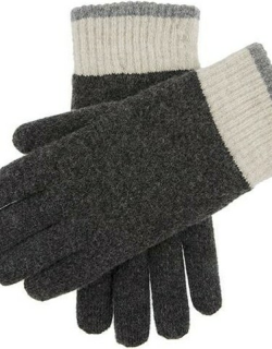 Dents Men's Contrast Cuff Knitted Gloves In Charcoal