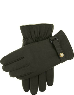Dents Men's Fleece Lined Waxed Cotton Gloves In Olive