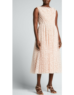 Tossed Floral Embroidered Tulle Dress